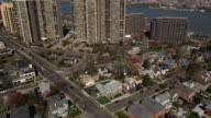 Cliffside Park Aerial Flyover Of Intersection Viewing High Rises & Hudson River video