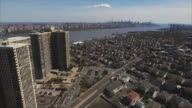 Cliffside Park NJ Aerial Backwards View Of Apartment Buildings With Intersection video