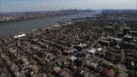 Cliffside Park NJ Aerial Flyover Of Homes With Manhattan In Background video
