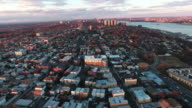 Cliffside Park NJ Aerial Shot Of Buildings At Sunset Flying Uptown video