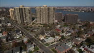 Cliffside Park NJ Flying Over Intersect Towards Apartment Complexes video