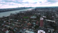 Cliffside Park NJ Flyover Shot Of Buildings Going Towards Downtown Manhattan video