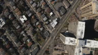 Cliffside Park NJ Overhead Descending Shot Of Cross Shape High Rise & Street video