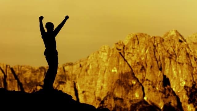 HD: Climber Celebrating Reaching The Summit video