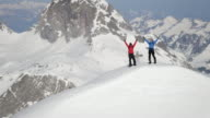 Climbers exultant on a snow-covered mountain peak video