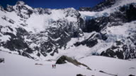 Climbers in the snow at Mueller Hut near Mount Cook, New Zealand. video