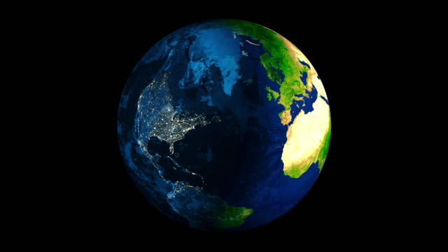 Clip of a rotating Earth with transition from day to night 4K video