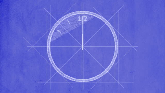 Clock drawn on blueprint paper, with 12 hour timelapse video