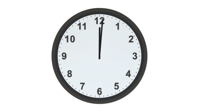 Clock face with hands moving from 9 to 5 video