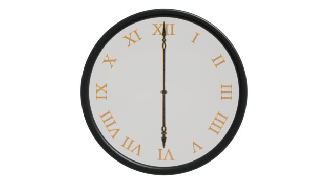Clock face with hands moving through 24 hours backwards video