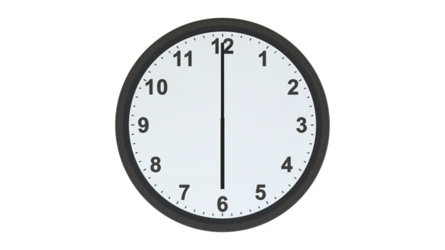 Clock face with hands moving through 24 hours video