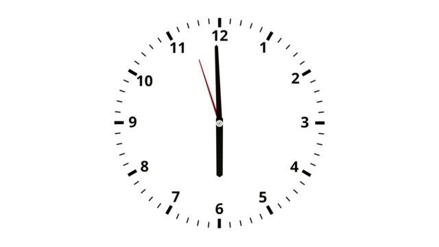 Clock face with twelve numbers and spinning time. video