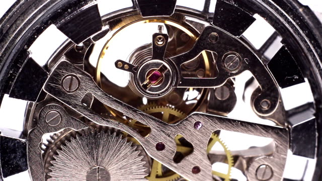 clock mechanism back macro - FULL HD video