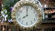 Clock outdoors on patio deck set to 8PM video