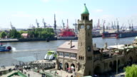 Clock Tower and Shipyard, Hamburg Harbor video