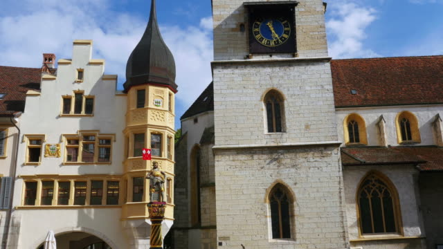 Clock tower view at downtown in Swiss town video