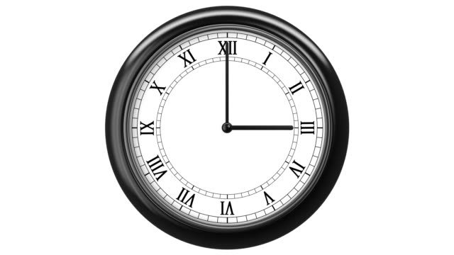 Clock with Roman Numerals. HD 1080. Loop. Isolated on White. video