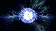 Clocks, Time Travel Tunnel in Fibers Ring, Rendering, Animation, Background, Loop video