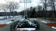 Close Aerial Of Cross Monument In Winter video