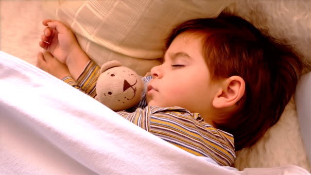 Close portrait of 3 years old boy sleeping with teddy bear video