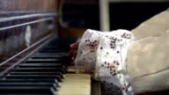 HD SLOW: Close shot of female baroquesqe hands playing piano video