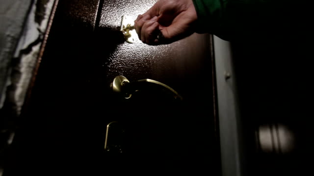 close the door, the door in the house, close the lock, reliable lock a white male lock closeup video