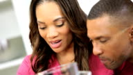 Close Up African American Couple Kitchen Wireless Tablet video