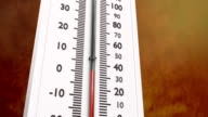 Close up at increasing temperature on thermometer. video
