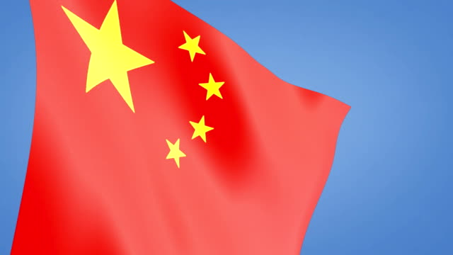 close up china flag blue sky video