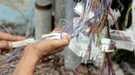 Close up connecting telephone cable. video