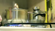 Close Up Cooking on a Gas Stove on Domestic Kitchen video