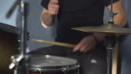 Close up drummer play on drum set video