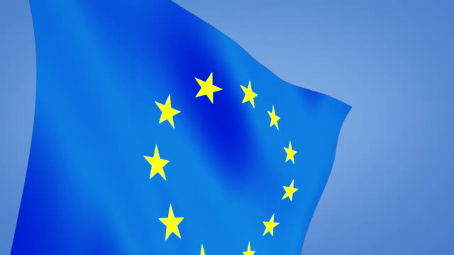 close up euro flag blue sky video