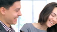 Close up face young attractive business man and woman video