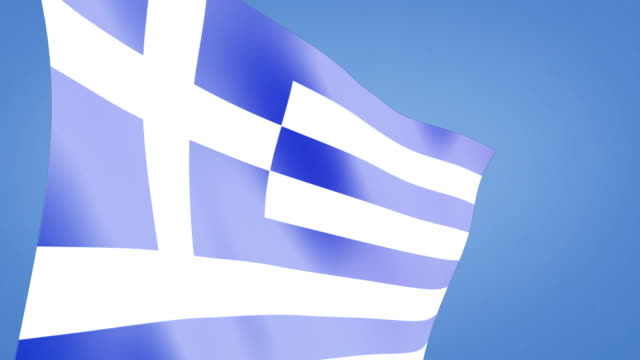 close up greek flag blue sky video