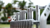 close up hand knock the Tubular bells(chime),music instrument video