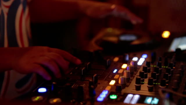 Close up hand of Dj Decks / Turntable at Disco Party Nightclub video