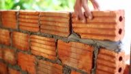 close up hand of man bricklayer for construction HD. video