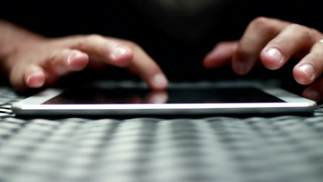 Close Up Hands Typing On Tablet Computer Screen HD video