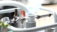 close up : leak liquid nitrogen from tank video