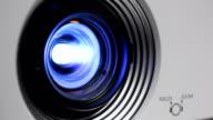 Close up Light beam Projector lens.part 3 video