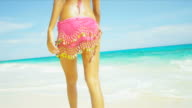Close Up Lower Body Beach Girl Wearing Bikini video