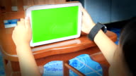 Close Up Man Holding Blank Tablet PC With Green. video