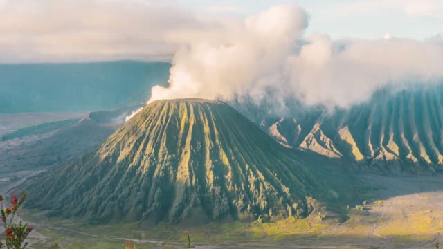 Close up Mount Bromo volcano during sun rise, East Java, Indonesia. Telephoto video