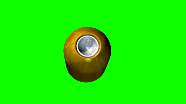close up of a flying gun bullet projectile on green screen video