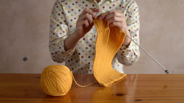 Close up of a knitting woman video