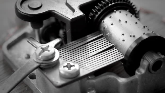 Close up of a musical box comb. video