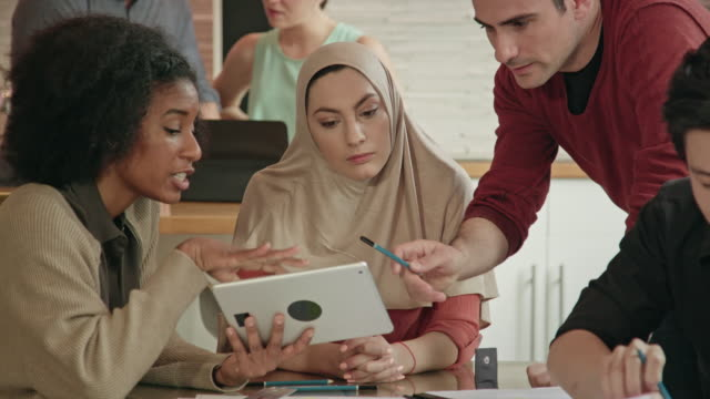 Close Up of a Muslim Businesswoman Leading Multi-Ethnic Team video