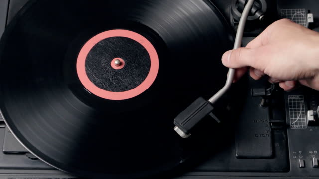 Close up of a record player playing vinyl. Retro Vinyl Turntable Stylus video