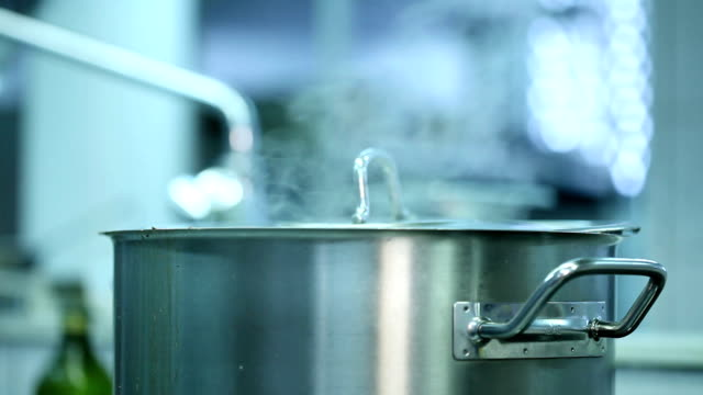 Close up of a steel pot video